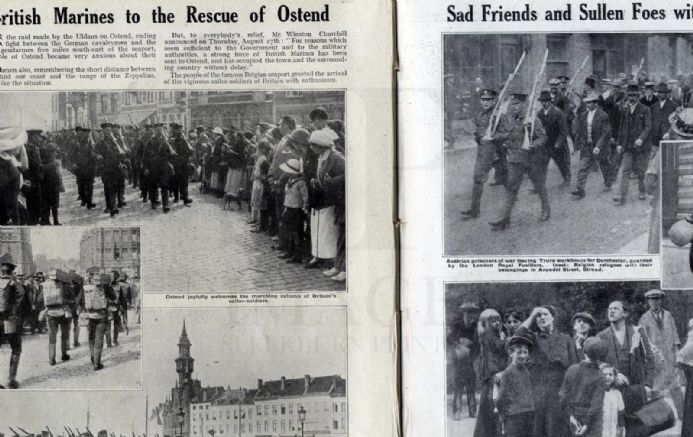 1914 WW1 Magazine BELGIAN REFUGEES Vise Looting MONS Belgrade Bombarded GREAT WAR Original Antique Publication